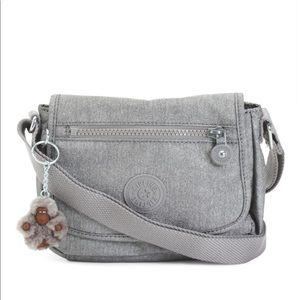 kipling sabian mini crossbody silver metallic
